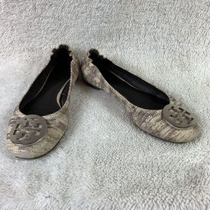 Tory Burch Reptile Print Reva Ballet Flats No Size